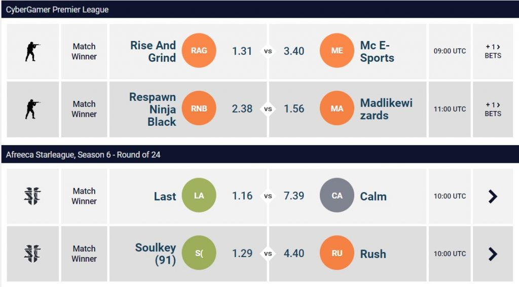 CS:GO and SC II betting odds.