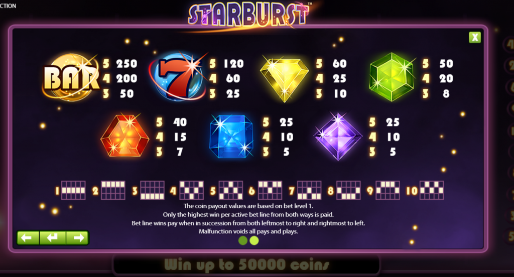 A look at the paylines in Starburst.